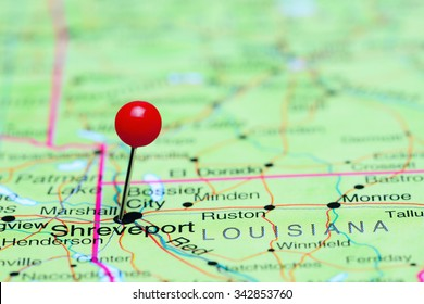 Shreveport pinned on a map of USA