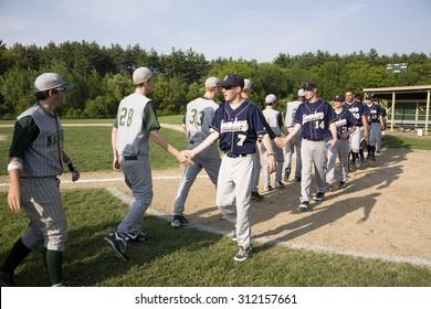 Shrewsbury Colonial high school baseball team shakes hands with Nashoba Chieftans team in Shrewsbury, MA after winning game on 5/27/11