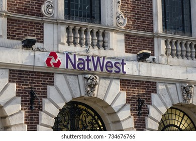 SHREWSBURY, ENGLAND - OCTOBER 14, 2017 NatWest sign in the town center