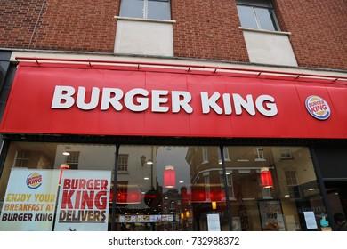 Shrewsbury, Shropshire, UK. 7 October 2017. Burger King store in Castle Street.