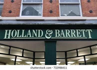 Shrewsbury, Shropshire, UK. 7 October 2017. The Holland & Barrett store on Pride Hill.