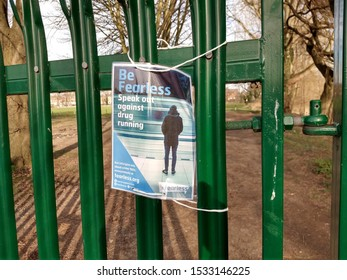 Shrewsbury, Shropshire, UK - February 24, 2019.  Fearless poster attached to fence next to recreation ground.  Fearless.org is a website created by Crime Stoppers.