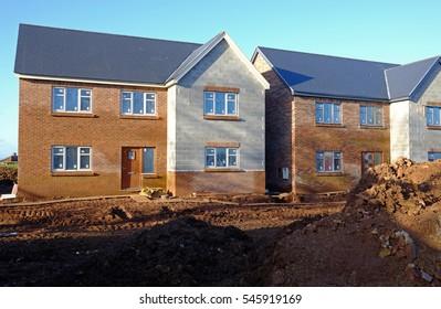 Shrewsbury, UK - 26 December 2016: houses under construction