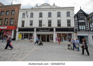 Shrewsbury,Shropshire/England - 18 July 2019: Pride hill in Shrewsbury