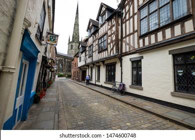 Shrewsbury,Shropshire/England - 18 July 2019:The Loggerheads pub in Church Street Shrewsbury.