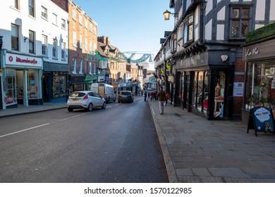 Shrewsbury,Shropshire/England - 18 Nov 2019:Looking down Wyle cop in Shrewsbury  on a cold winter day.