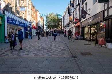 Shrewsbury,Shropshire/England - 18 Nov 2019:Looking up Pride hill in Shrewsbury Shropshire.