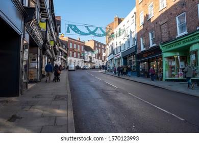 Shrewsbury,Shropshire/England - 18 Nov 2019:Looking up Wye Cop in Shrewsbury on a cold winter day