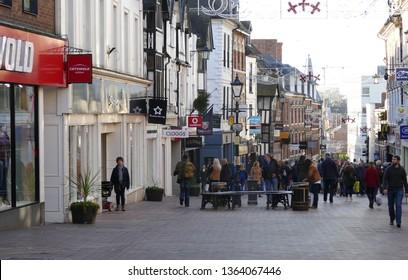 Shrewsbury,Shropshire/England - Dec 4 2016:Looking down Pride Hill