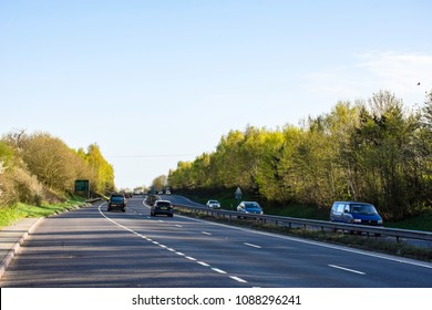 Shrewsbury/Uk-04.20.2018:Traffic on A5 express way on beautiful spring day, not too busy, good weather, perfect driving conditions.Highway Uk,Dual carriage road.Driving Uk.Highway mild traffic.