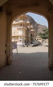 Shri Gayan Jopal Ji temple in the Galtaji temple complex, Jaipur, Rajasthan, India
