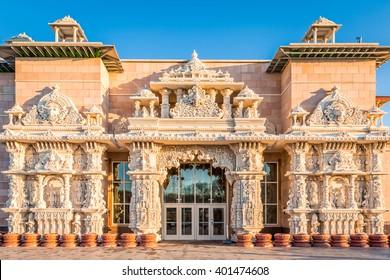 Shri Swaminarayan Mandir (hindu temple) from Robbinsville, New Jersey, under a sunset light