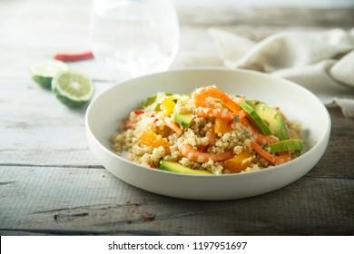 Shrimp avocado quinoa with orange