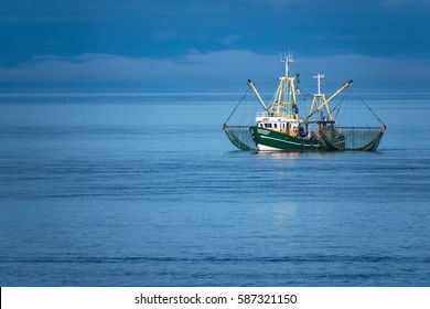 Shrimp boat on the North Sea, Germany.