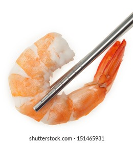 Shrimp with chopsticks isolated on white background