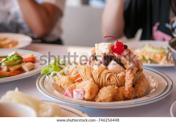 Shrimp Cream Salad in Taro Basket , meal , vegetables