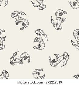 Shrimp doodle seamless pattern background