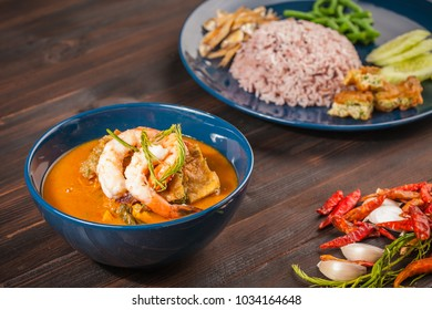 Shrimp and egg sour soup made of tamarind paste.