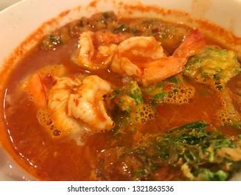 Shrimp and egg sour soup made