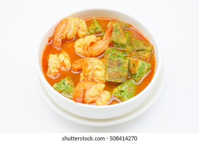 Shrimp and egg sour soup made of tamarind paste, Delicious thai traditional food