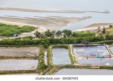 shrimp farm and village near sea
