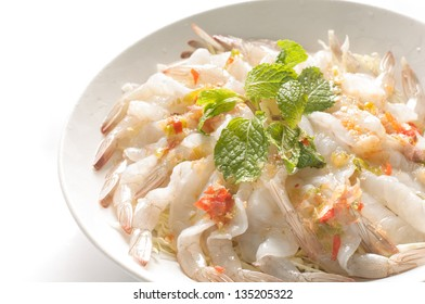 Shrimp in fish sauce on white background