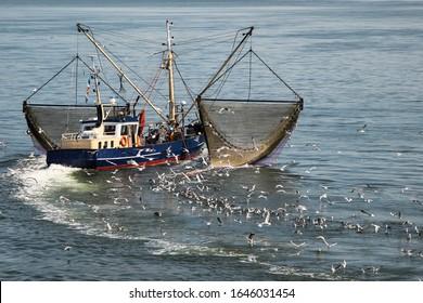 Shrimp fishing boat at the Wadden Islands