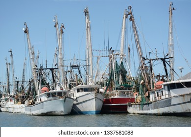 shrimp and fishing boats docked at the pier