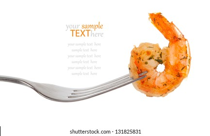 Shrimp Linguine on a fork, isolated on white background