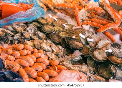 Shrimp and other seafood at the fish market in Bergen, Norway