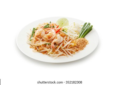 shrimp pad thai on white background