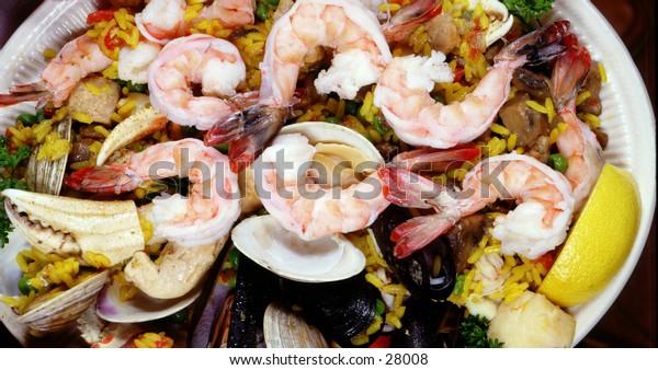 Shrimp paellea in platter
