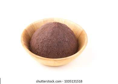 Shrimp Paste in wooden bowl on white background.