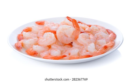 Shrimp with plate isolated on the white background.