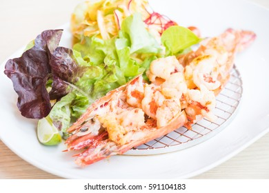 Shrimp and Prawn steak in white plate
