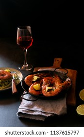 Shrimp recipes are easy enough for a nice tasty lunch or dinner, it takes only five minutes to prepare that seafood. Red wine on the table