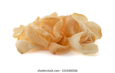 Shrimp rice crackers in thai food isolated on white background, cornflakes, crisp rice,Thai snack.