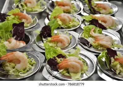 Shrimp salads background