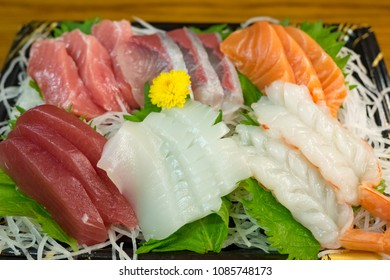 shrimp sashimi,salmon sashimi and tuna sashimi