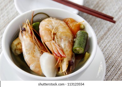A shrimp sinigang soup a Filipino dish