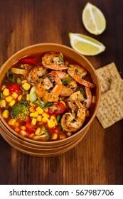 Shrimp Soup With Tomato, Broccoli and Corn. Selective focus.