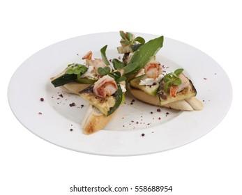 Shrimp Squash Bruschetta Italian Antipasto Topped Appetizer Snack Dish Set