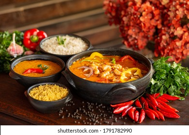 Shrimp stew, usually served with rice, mush and manioc flour. Traditional dish of Brazilian cuisine and consumed throughout the Brazilian coast.
