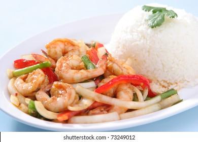 Shrimp Stir Fried with Steam Rice