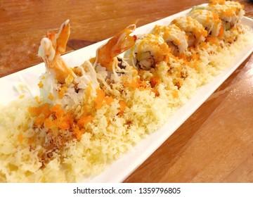 Shrimp tempura roll - fancy Japanese roll with crispy tempura crumb