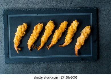 Shrimp Tempura with Soy Sauce on Black  Stone Board.