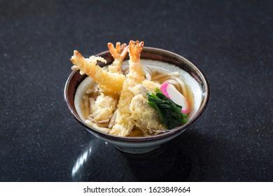 Shrimp tempura udon tasty Japanese food isolated