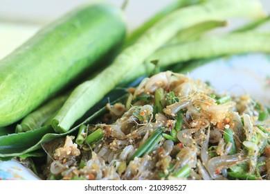 Shrimp Thai dressed salad, Food of the northeast of Thailand.