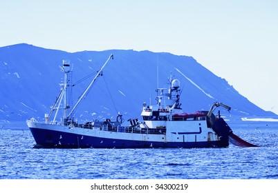 Shrimp trawler in artic water
