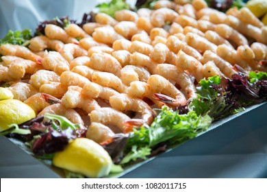 shrimp tray with lemon and lettuce arranged nicely